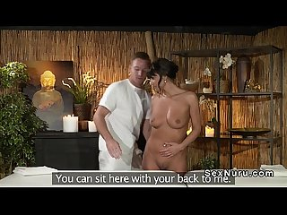 Tanned euro beauty sucks masseurs cock