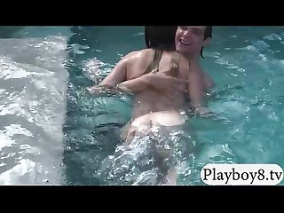 Two sexy babes wet blowjob and pussy fucked by the pool