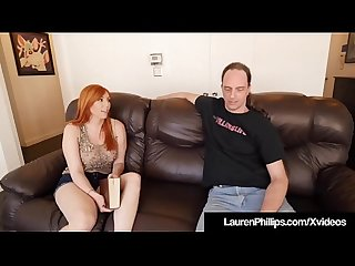 Busty redhead lauren phillips blows bangs her sex coach