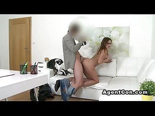 Fake agents shoots sex with brunette babe in casting