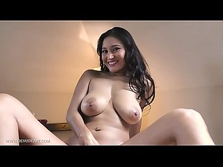 Exotic Asian babe masturbates with huge black dildo