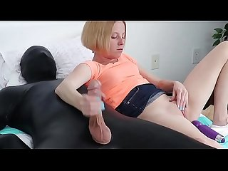 Tiny blonde babe jerks latex mans big cock