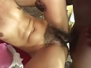 Nice mulatto well shaped babe Niki Vonn blows huge black cock and rides it like a cowgirl