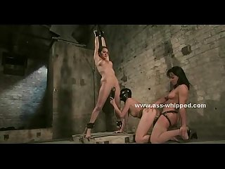 Three cute ladies inside a filthy basement enjoy fucking in bondage lesbian sex