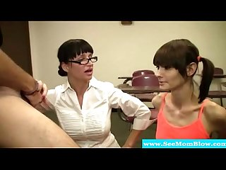 Spex milf and teen drooling on hard cock