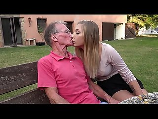 Blonde hot ass anal fucked by horny grandpa