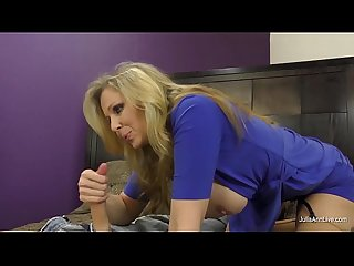 Busty milf julia ann jacks him off with fake pussy