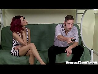 Seductive redhead tgirl tastes her lovers rod