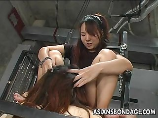 Hot little asian sluts suck the pussy and the dick