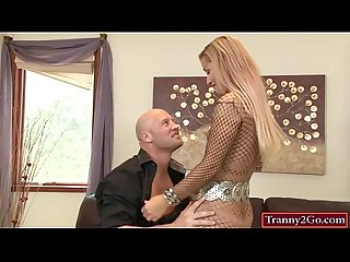 Glamour blonde shemale khloe hart in body stockings analed