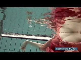 Katya Okuneva in red dress pool girl