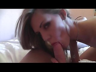Skinny babe gets face covered in cum after hot sex session