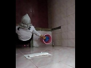 Hijab Girl on campus Toilet