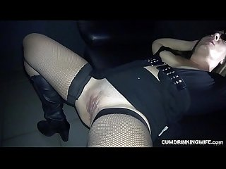 Slutwife gangbanged by many strangers at the adult theater
