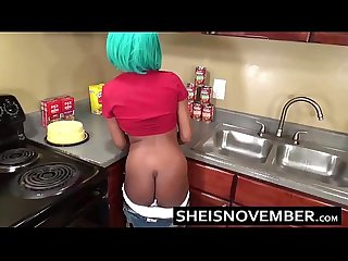 Sexy ebony big tits step sister msnovember give Blowjob Sex in kitchen cooking
