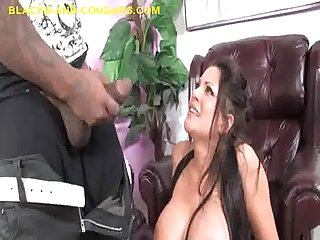 Milf and black stud trade oral
