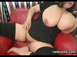 Chubby chick with huge tits