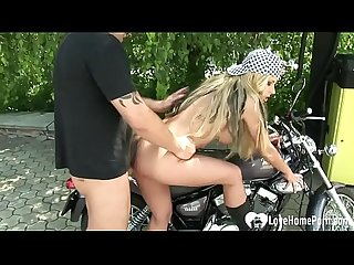 Biker beauty gets rammed by her man outdoors
