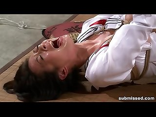 Asian slave is hogtied comma electro tortured and dildo punished