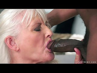 Grey granny on big black cock