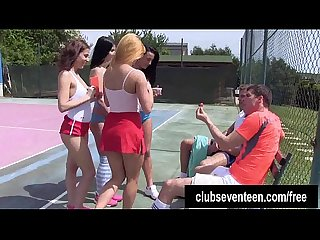Four trashy teens fuck two guys on the tennis field outdoors