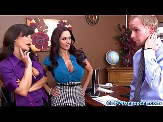 Bigtitted office femdoms in threeway cockride
