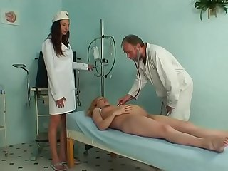 Pregnant cute girl riding her gynaecologist s hard prick