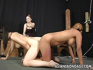 Craving asian slut endures kinky lesbian sex