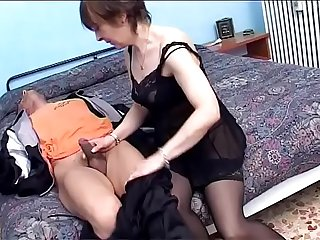 Grandma in black and the double stellar blowjob