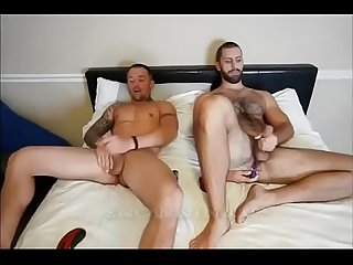 buddies jerkoff with anal vibrators on cam