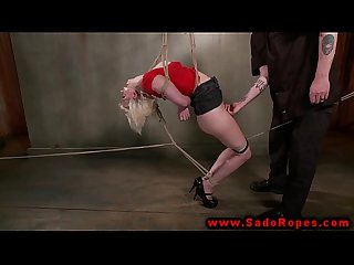 BDSM blonde bound and gagged by master during her session