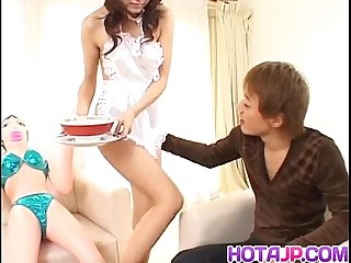 Aki Anzai in sexy outfit plays with cum she gets after blowjob