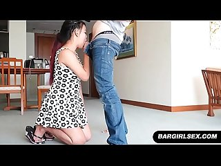 Asian real estate agent blows her client in a model home