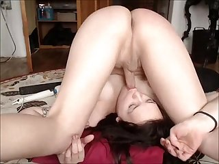 Incredibly Horny Shemale Fucks her Own Face Cam