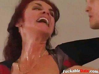 Horny grandma fucks young stud