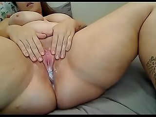 Bbw fucked thick dildo with creampie cum