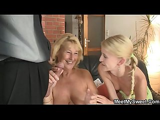 She toying her bf S mother pussy and sucks dad S cock