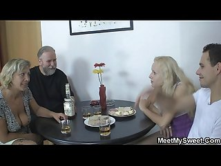Her pussy gets licked and fucked by her BF's parents