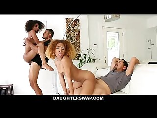 Daughterswap hot ebony teens fucked for disobeying dad