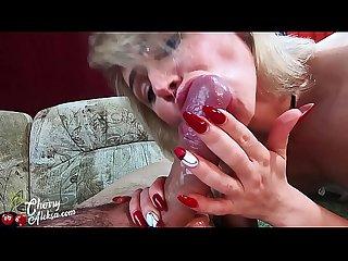 Blonde Footjob, Blowjob and Hot Cowgirl Big Dick with Ass Plug
