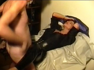Sperm traudl with crotchopen fast Fuck pvc trousers gets a Fuck without foreplay