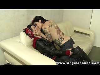 Angel joanna makes out with tattood babe