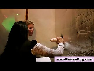 Amateur teens at gloryhole party