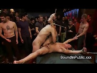 Gays fucking pole dancer in bondage
