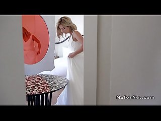 Blonde bridesmaid cheating in wedding dress