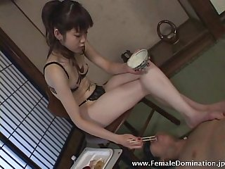 Pathetic hungry slave got face stuff with food and more