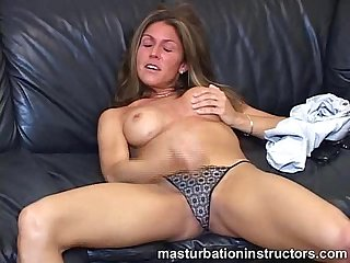 Jerk off teacher exposes her nice tits to tease horny men