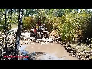 HD Thai teen heather goes atving in paradise and gets huge throatpie in quad